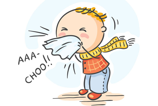 Cover your nose with a tissue when you sneeze or sneeze into your elbow.