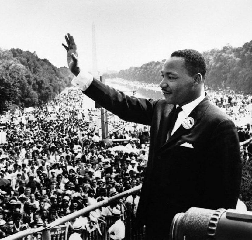 Martin Luther King Jr. waves to the massive crowd that gathered on August 28, 1963 to help reform Civil Rights.