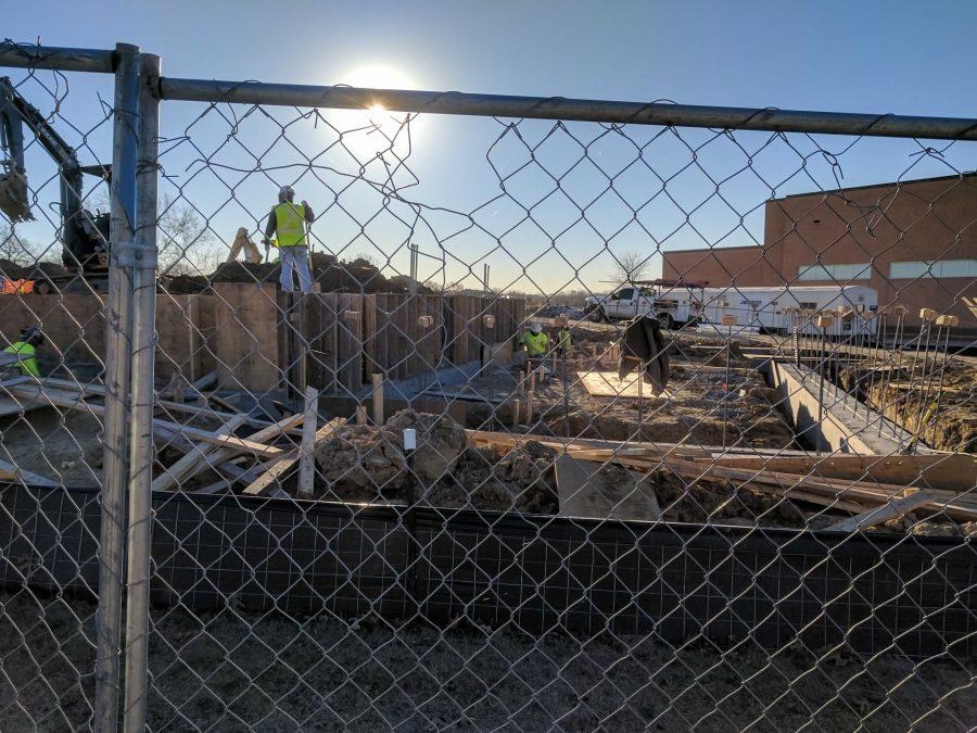 The skilled Joeris Construction crew laying groundwork at the far northwest side of the construction site as of January 31, 2017.