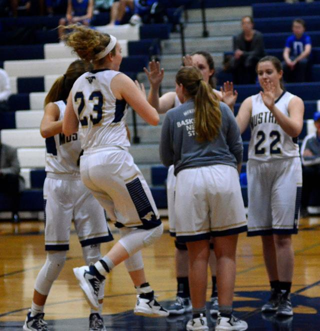 Varsity+Basketball+girls+encourage+each+other+during+the+game+against+HSAA.+