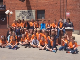 The fourth grade students enjoy a day at the Fort Worth Stockyards.