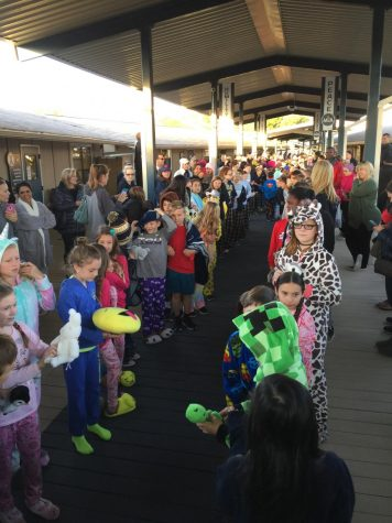 The Lower School students line up for their pajama parade.