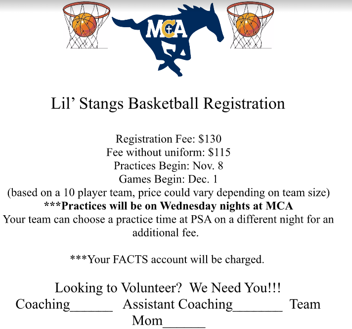 Lil Stangs Winter Basketball Registration Ends: 10/27/17