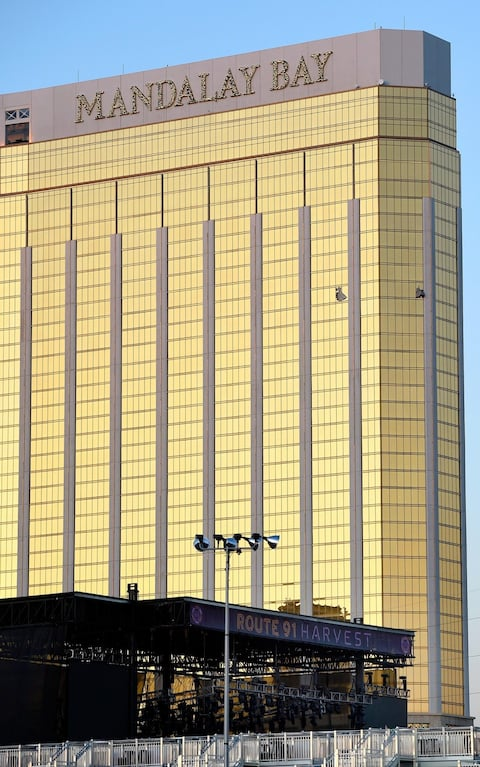 The Mandalay Bay Hotel, from where the shooter attacked the crowd in the street below