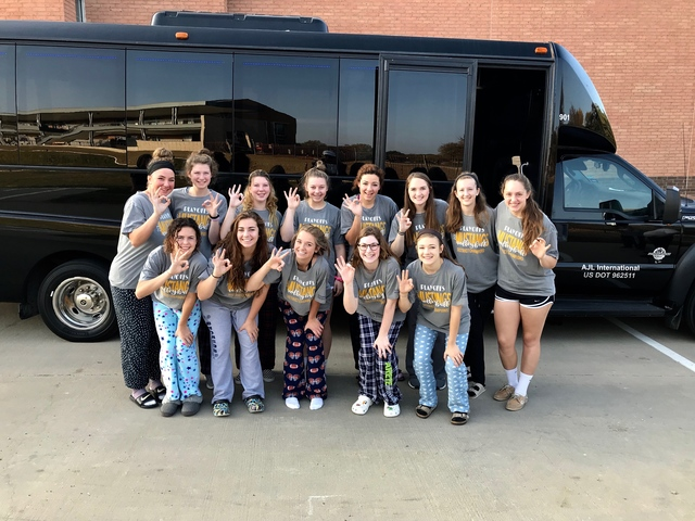 The girls loaded the bus in style ready for a fun day and a fun game.