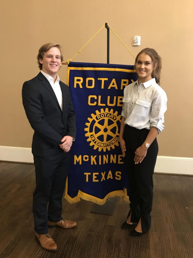Jud Williams and Sophie Temple stood in front of the Rotary Club sign before being recognized.