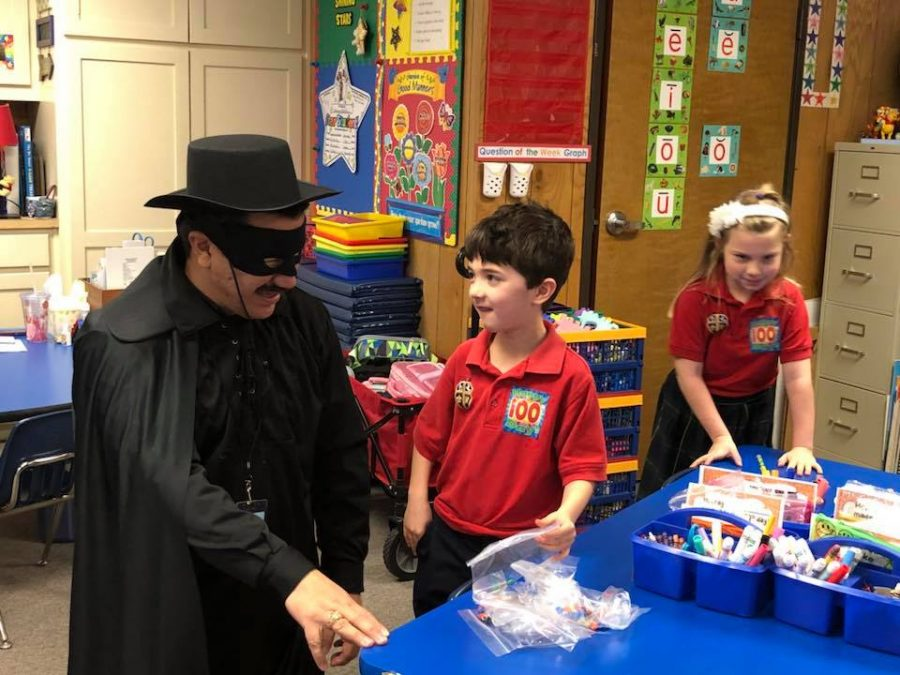 Mateo Buhr, Kindergarten, and Zero Hero go through his collection of 100 things that he brought for the 100th Day of School.
