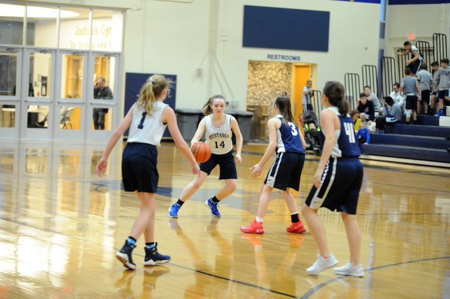 Eighth grader, Abigail Dahl dribbles the ball down the court to help her team score a point.