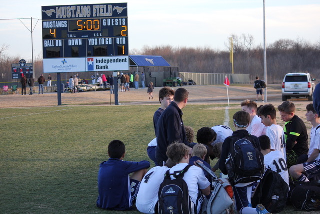 After a 4-2 win from a penalty kick shootout, the Mustangs listen to their coach, Rob Simmons, talk about the game.