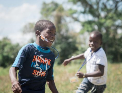 Children have fun at the Batey with new stickers