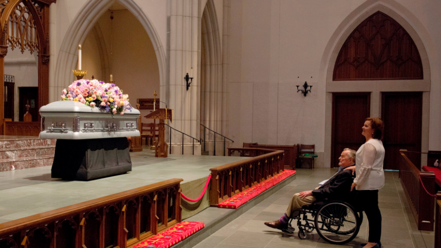Former President, George H. W. Bush, mourns the loss of his wife at her funeral services on April 21, 2018
