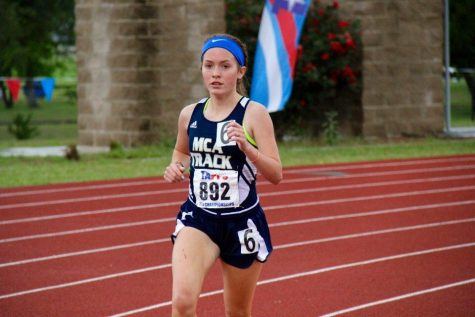 Sophomore Brooke Fillebrown finishes 6th place in the two mile run at the State Track Meet in Waco.