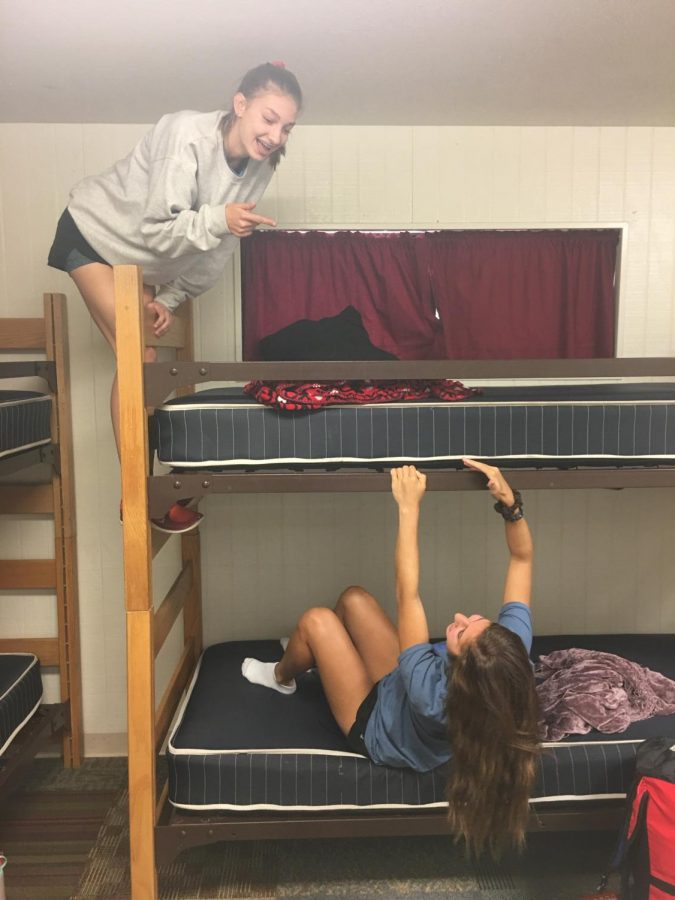At retreat, Taylor and Lauren enjoyed hanging out in their cabin with some friends. They listened to music, played games, and told funny stories. There was never a dull moment with these two!