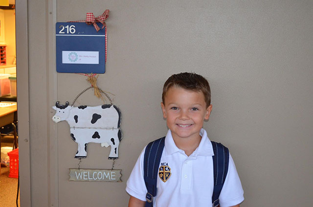 Marshall Stubbs takes a picture before his first day of 3rd grade.