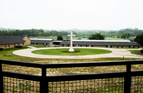 A view of the cross from the second floor of the upper school.