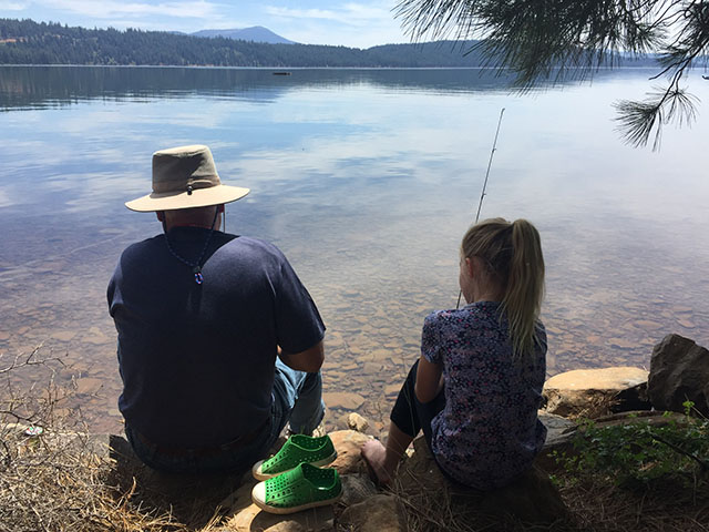 Spending time with her Papa, fourth grader Aubrey Hagstrom went fishing at Lake Almanor in California.