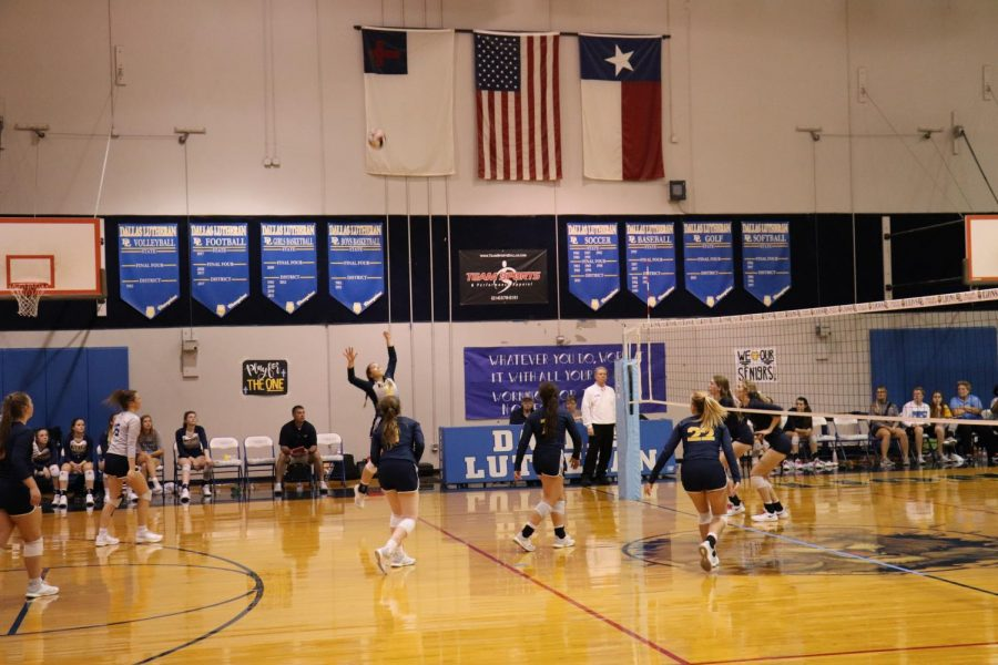 Junior outside hitter Courtney Martin goes up for a kill in the third set.