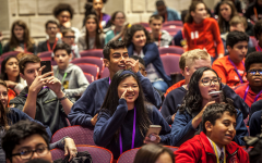 Middle School students eagerly watch and engage during the event held at SMU.