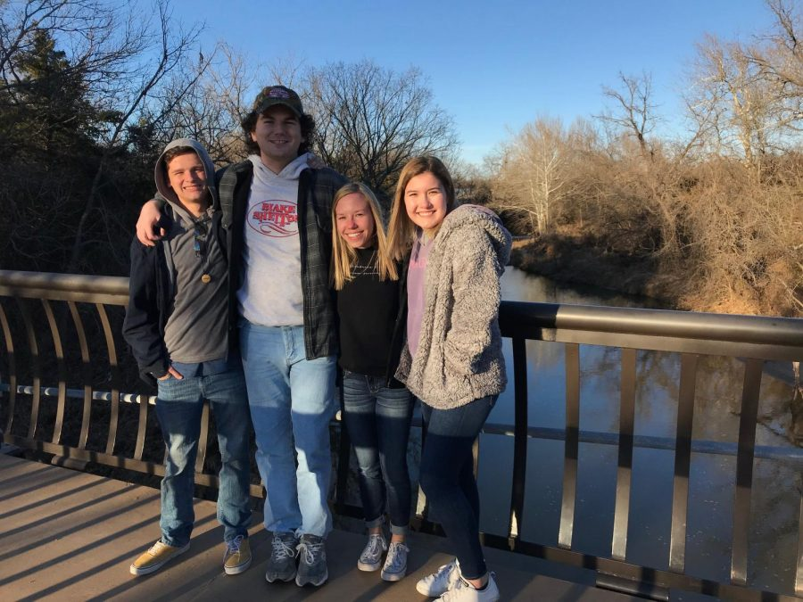 In the middle of exploring the Chickasaw Cultural Center, seniors Brody Simpson, King Harrell, Katherine Hines, and Lizzy Krusing stop on the bridge.