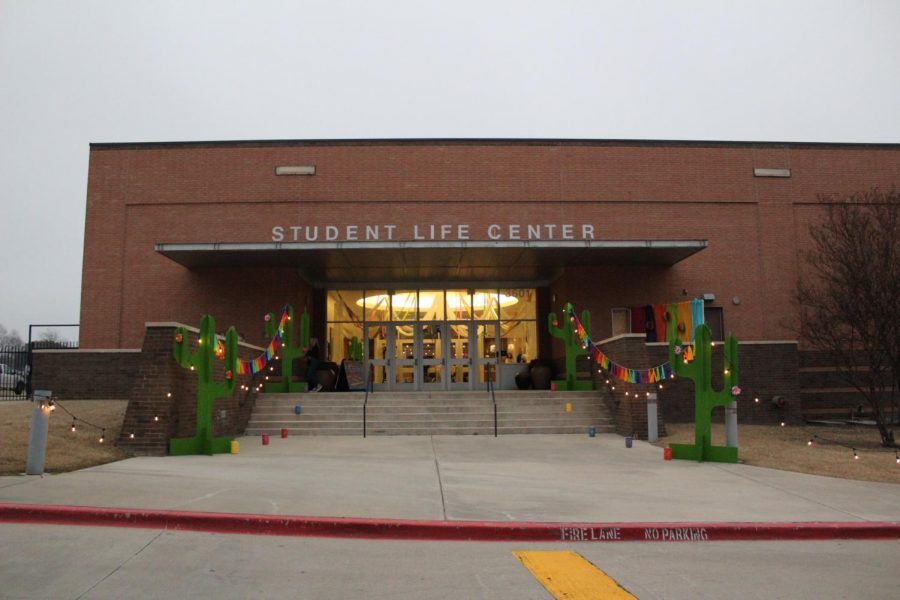 A view from the SLC parking lot at the fiesta themed entrance.