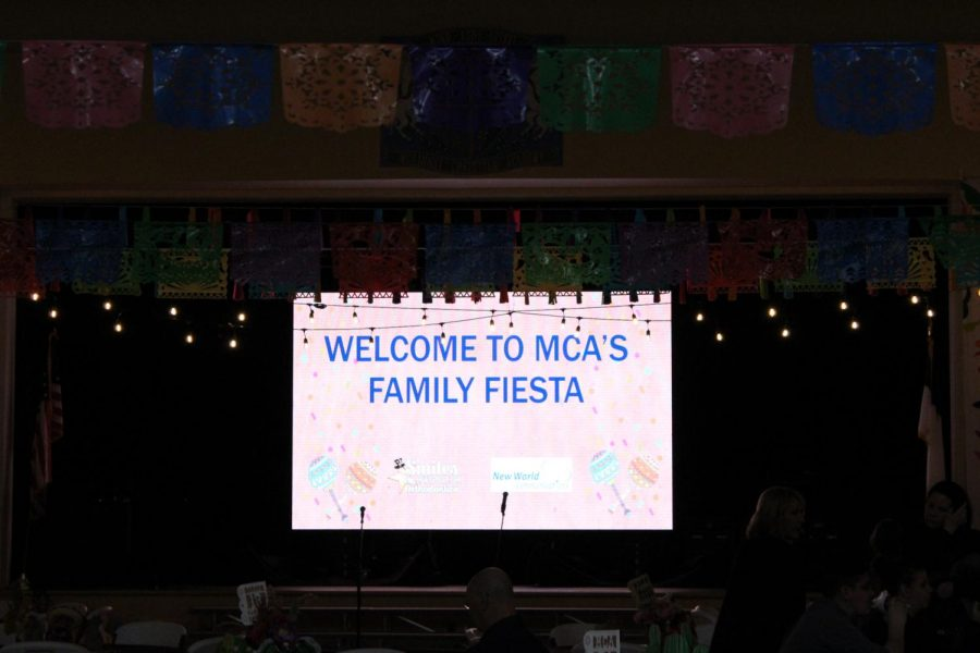 MCAs welcoming projection before the fiesta started.