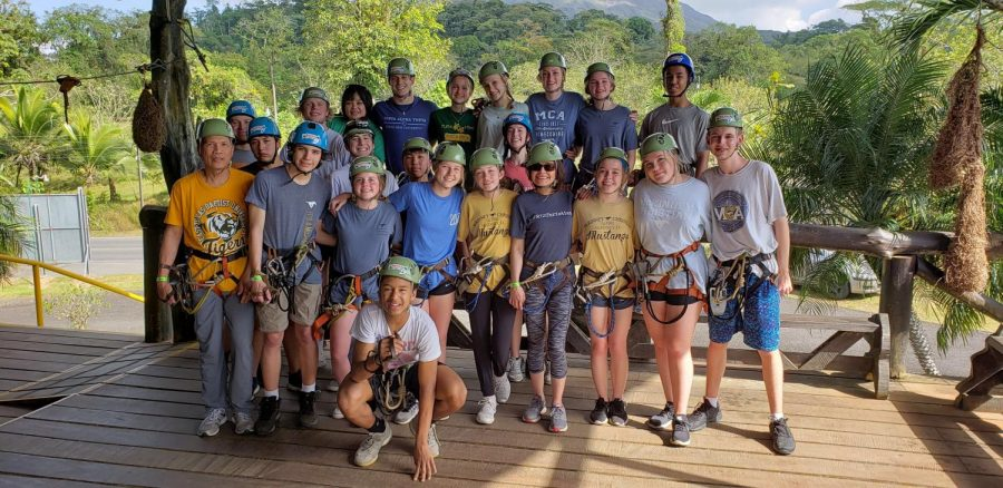 Mission team before going on a zip line canopy tour