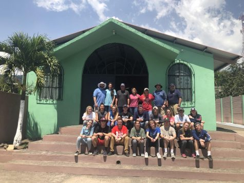 The MCA Guatemala Mission Team poses for a photo outside a church in the village of Zapote.