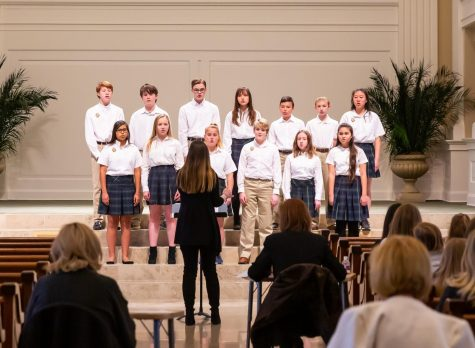 The Middle school choir performs their songs for the judges at the ACSI competition.