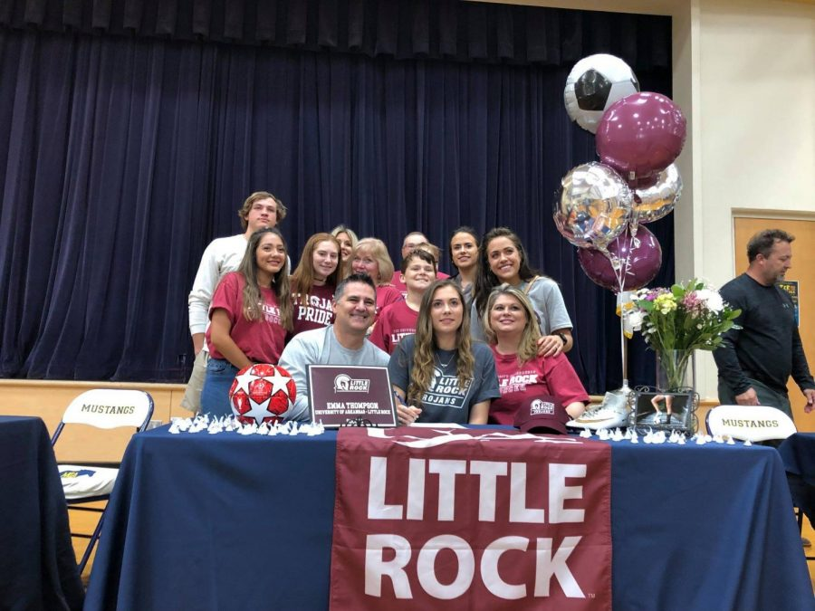 Emma Thompson and her family and friends on signing day.