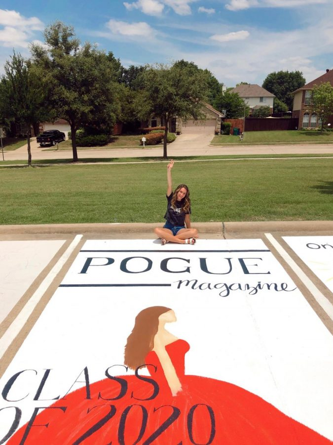 Senior Meredith Pogue's posing on her parking spot.
