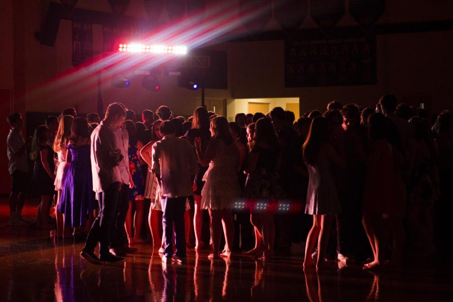 MCA Upper School students dancing the night away at Hawaiian Homecoming.