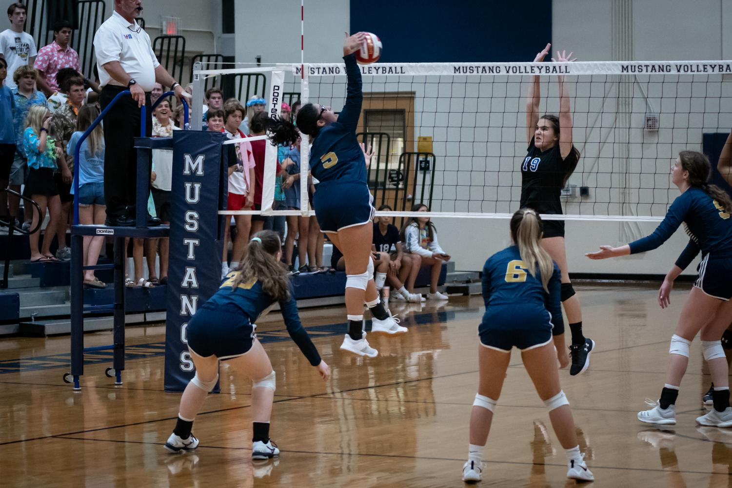 Freshman Daniella Morales hits the ball off of a set from one of her teammates.