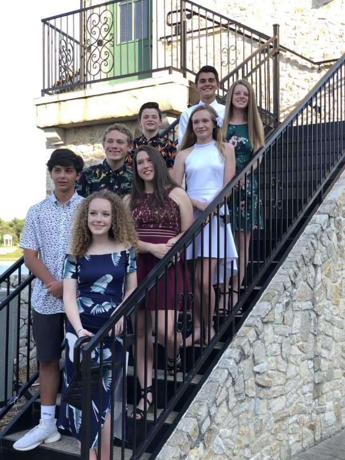 A freshman group taking pictures at Adriatica in McKinney before going to dinner then the dance.
