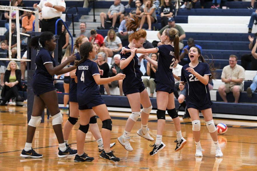 D2 team celebrates after a big win.