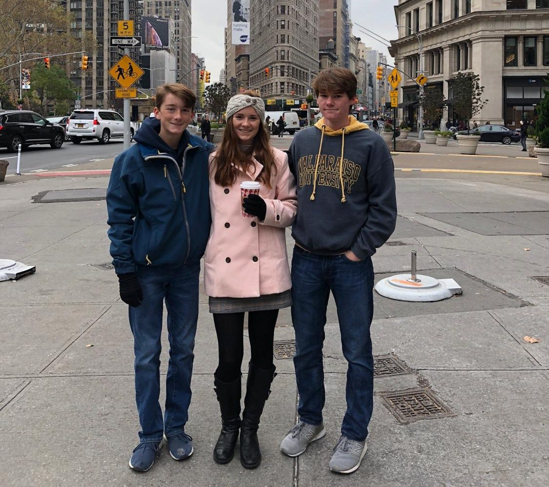 The Roller family, David (8), alumni Juliana and Jonathan Roller(11) celebrate the holiday season in New York.