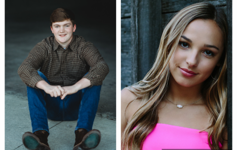 On the left is senior Caleb Buchanan and on the right is senior Haley Hitt.