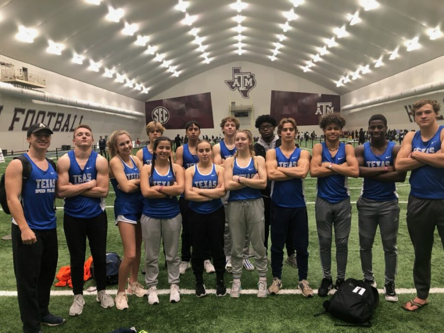 The MCA Indoor Track  Team strikes a serious pose at the 2020 Texas A&M High School Indoor Classic.