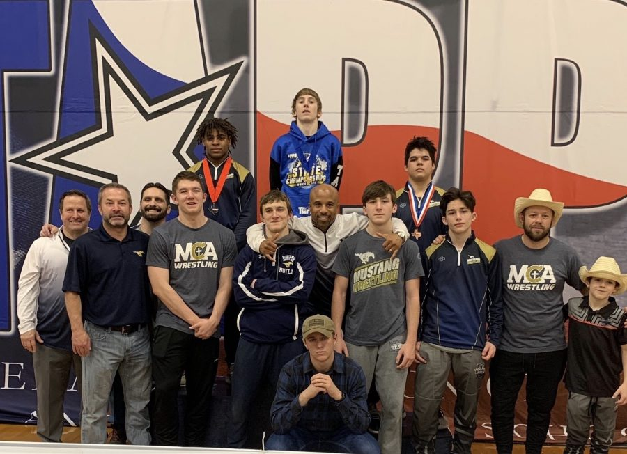 The 2020 varsity wrestling team after TAPPS State Competition.