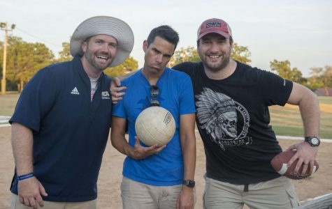 Upper School Spiritual Life Pastor Trey Postelle, Counselor John Woodruff, and football Coach Chance Gray pose for a picture after a fun pick-up game of sand volleyball at Upper School retreat.