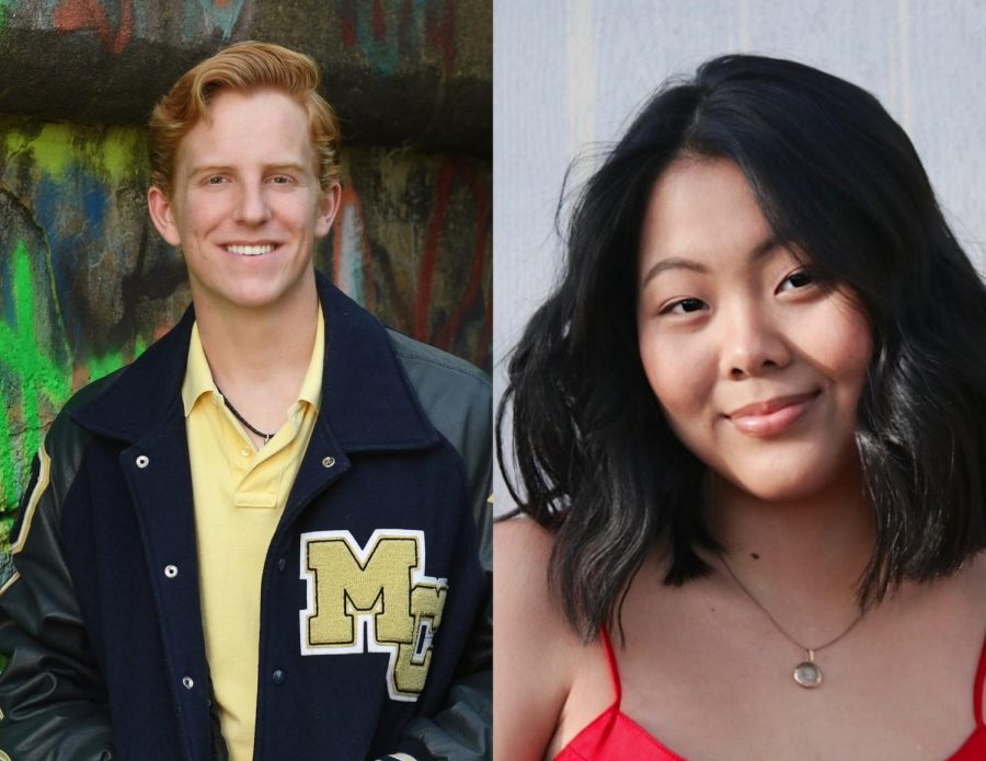 On the left is senior Jason Cross and on the right is senior Joy Chiang.