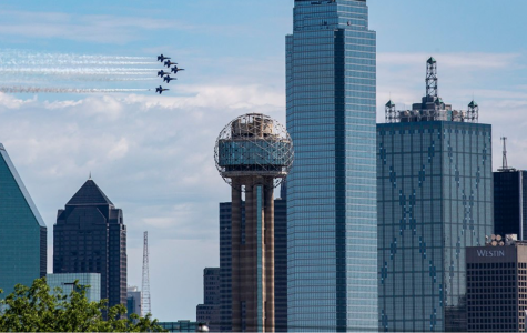 The Blue Angels fly over Dallas, Texas.