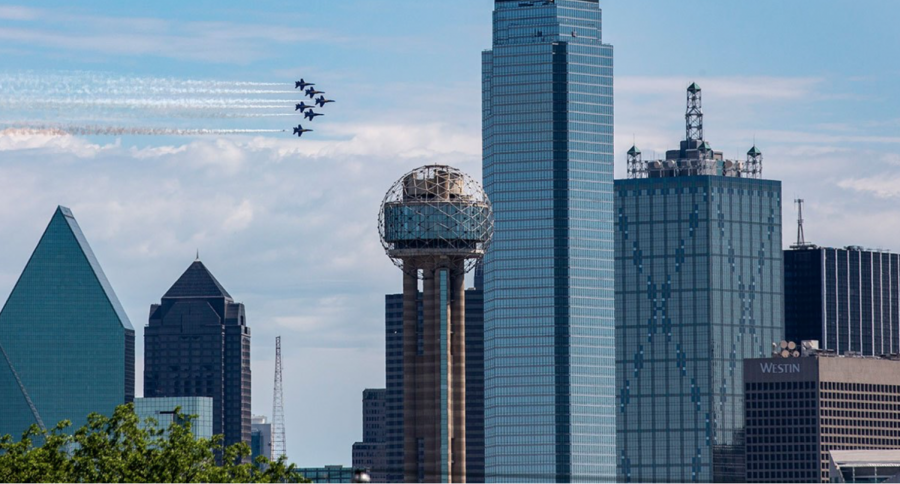 The+Blue+Angels+fly+over+Dallas%2C+Texas.
