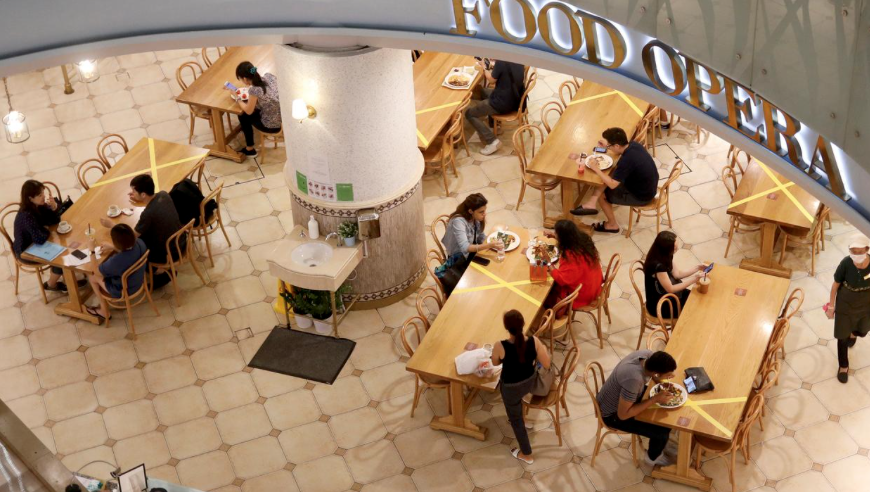 Food court practicing social distancing for phase one.
