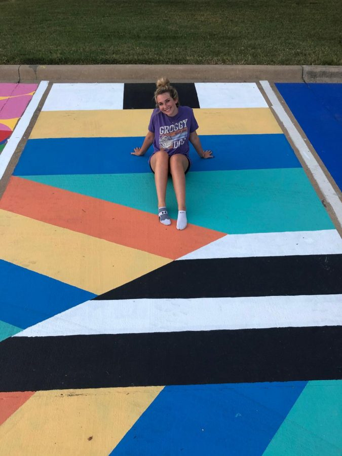 Hallie Witte with her parking spot.