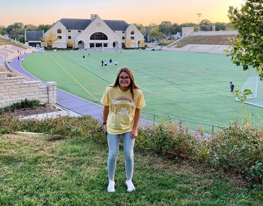 Sophomore Kate Nordhaus posing for a picture at Kansas University.