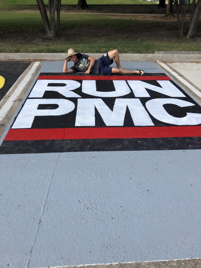 Peter Michael with his parking spot once complete.
