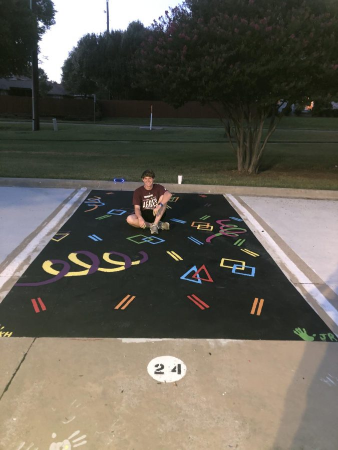 Jonathan Roller with his parking spot after it was all complete.