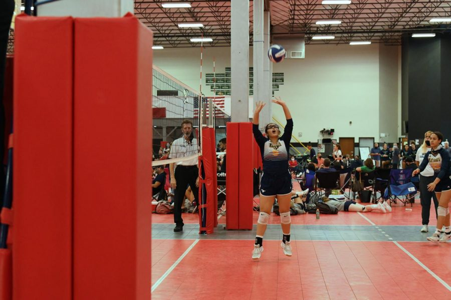Sophomore setter Dani Morales sets the ball to her outside hitter.