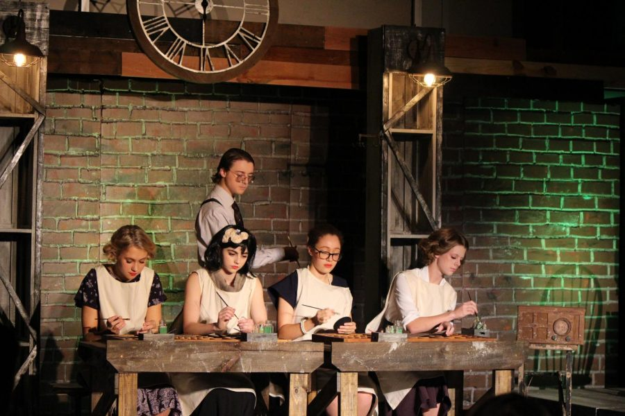 Senior Connor Hastcoat, juniors Maddie Simmons and Charli Bazor and Sophomores Josie Allen and Gabby Gordon work in the Radium Dial Company.