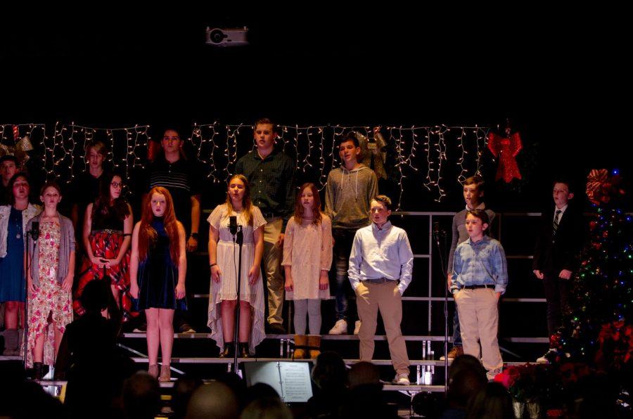 Middle School choir sings in the Christmas Concert.